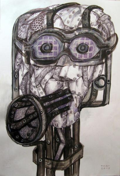 testa di donna con trombetta (studio)